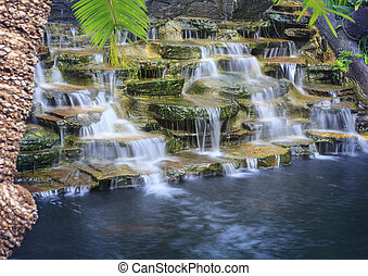 kunstmatig, watervallen, met, lange blootstelling, technic,...