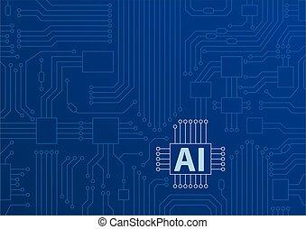 kunstmatige intelligentie, /, ai, concept, als, vector, achtergrond, met, cpu, /, microchips