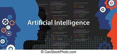 kunstmatige intelligentie, ai, concept, van, technologie, futuristisch, hoofd, menselijk, programmering
