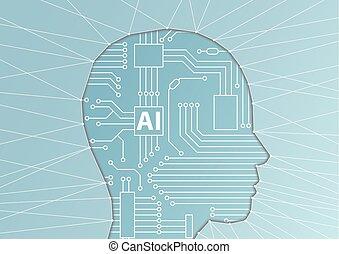 kunstmatige intelligentie, /, ai, concept., vector, illustratie, van, gezicht, silhouette, met, computer, bewerker, als, kunstmatig, hersenen