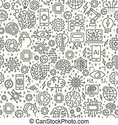 kunstmatige intelligentie, ai, en, machine, leren, technologie, website, spandoek, of, achtergrond