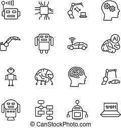 kunstmatige intelligentie, ai, lijn, icons., robot, intellect, en, cyborg, splinter, verstand, tekens & borden