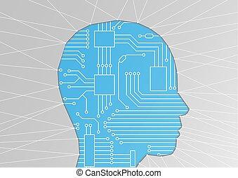 kunstmatige intelligentie, /, ai, of, machine, leren, /, digitization, concept., vector, illustratie, van, hoofd, silhouette, met, circuit plank