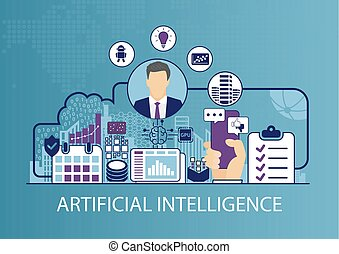 kunstmatige intelligentie, concept, als, zakelijk, vector, illustratie