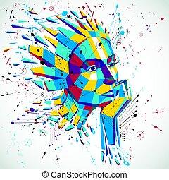 kunstmatige intelligentie, hoofd, laag, poly, stijl, 3d, vector, wireframe, verbrijzelde, object., modernistic, achtergrond, groenteblik, zijn, gebruikt, in, projecten, op, onderwerp, van, menselijk, intelligentie, en, imagination.