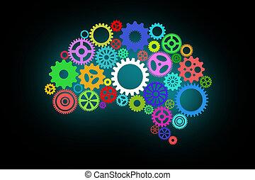 kunstmatige intelligentie, met, menselijke hersenen, vorm, en, toestellen