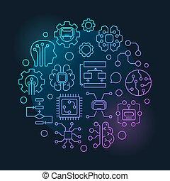 kunstmatige intelligentie, ronde, vector, kleurrijke,...