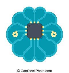 kunstmatige intelligentie, vector, pictogram