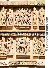 kunstwerk, khajuraho, tempels, detail