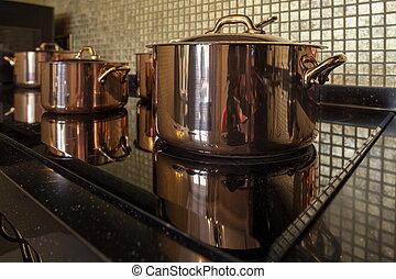 kupfer, cookware, reihe