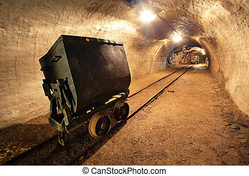 kupfer, karren, gold, mine., bergwerk, zug, u-bahn, silber