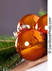 kupfer, kugeln, gefärbt, hell, glänzend, weihnachten