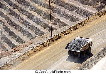 kupfer, riesig, bergwerk, lastwagen, kennecott, erz, bingham