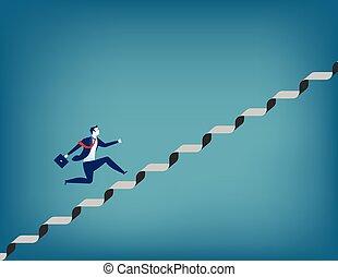 kupiec bieg, do góry, schody