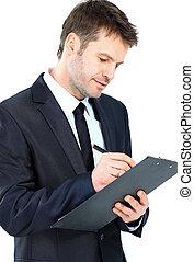 kupiec pisanie, na, clipboard, nosić, elegancki, dostosujcie i wiążą, odizolowany, na, białe tło