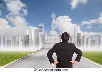 kupiec stanie, dla, chodzenie, naprzód, do, lokata, miasto, powierzchnia