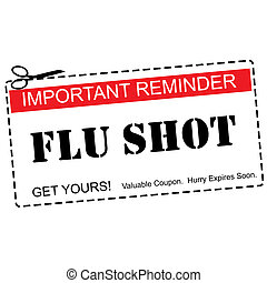 kupong, influensa, påminnelse, begrepp, skott