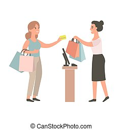kupować, daje, kasjer, samica, buyer.