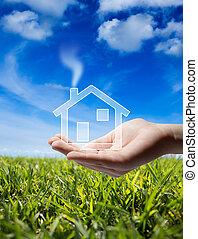 kupować, dom, -, ikona, dom, w ręce