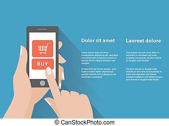 kupować, holing, guzik, ręka, telefon, ekran, mądry
