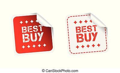 kupować, ilustracja, tło., wektor, biały, stickers., najlepszy