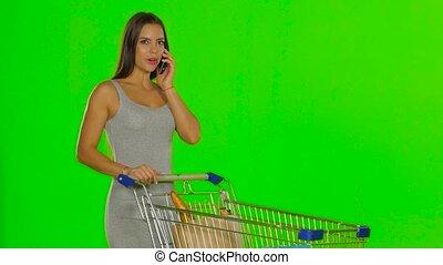 kupować, kobieta, wołania, ekran, robiony, zielony, mobile.