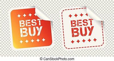 kupować, odizolowany, ilustracja, tło., wektor, stickers., najlepszy