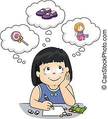 kupować, rzeczy, ilustracja, pieniądze, dziewczyna, koźlę