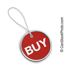 kupować, skuwka, okrągły, czerwony