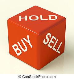 kupować, utrzymywać, i, sprzedawać, czerwony, jarzyna pokrajana w kostkę, reprezentujący, dyby, strategia