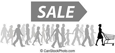 kupować, zakupy, parada, sprzedaż, wóz, klienci, lider
