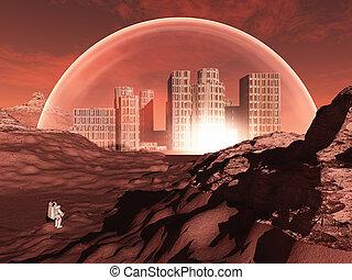 kuppelförmig, stadt, in, unwirtlich, planet