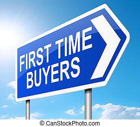 kupujący, concept., pierwszy, czas