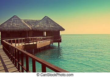 kupy, skutek, maldives., retro, willa, woda
