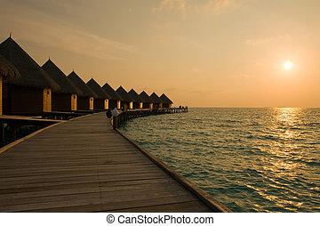 kupy, sunset., czas, maldives., willa, woda
