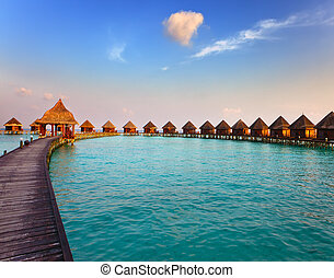 kupy, sunset., czas, maldives., willa, woda
