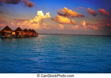 kupy, zachód słońca, czas, maldives., willa, woda