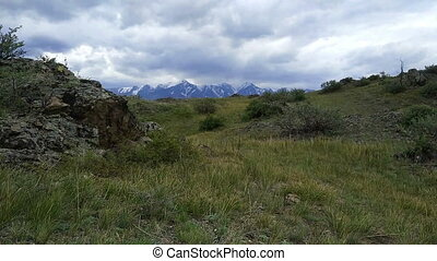 Kurai steppe and North-Chui ridge of Altai mountains,...