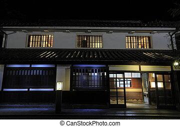 Kurashiki Bikan historical quarter in Okayama, Japan (night ...