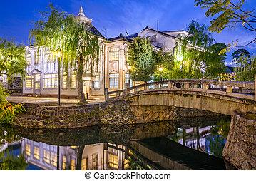 Kurashiki, Okayama, Japan canal and old town at night.
