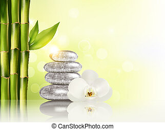 kurbad, bamboo, stones.vector, baggrund