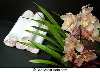 kurbad, -, håndklæder, skønhed, orkidéer