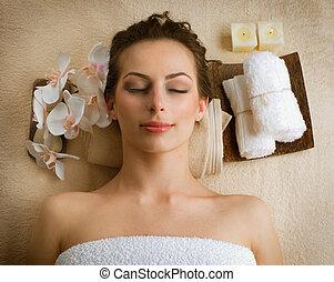 kurbad, kvinde, ind, skønhed salon