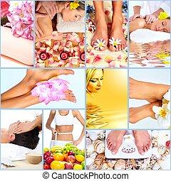 kurbad, massage, collage, baggrund.