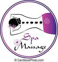 kurbad, symbol, massage, logo