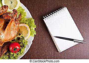 kurczak, pióro, stół, notatnik, restauracja, piec