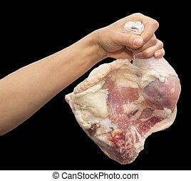 kurczak, ręka, czarne tło, noga