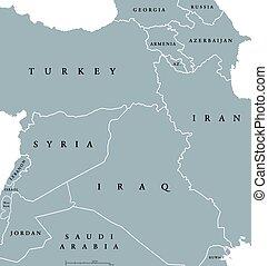 Kurdish countries political map