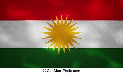 Kurdistan dense flag fabric wavers, perfect loop for background