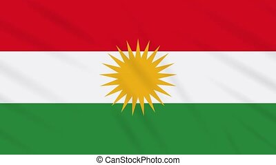 Kurdistan flag waving cloth, ideal for background, loop